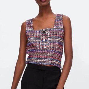 NWT Zara Multicolor Sparkly Tweed Cropped Tank Top